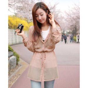 Cherrykoko - Salmon Pink Sheer Jacket
